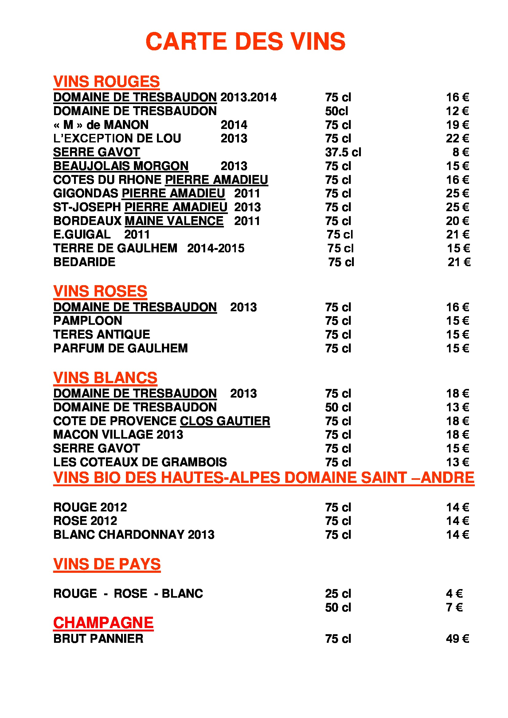 Carte des vins le melezin for Jardin des vins 2015 horaires